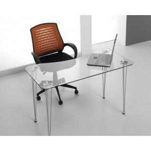 Mesa ordenador cristal on line electromuebles hermanos for Mesa escritorio cristal