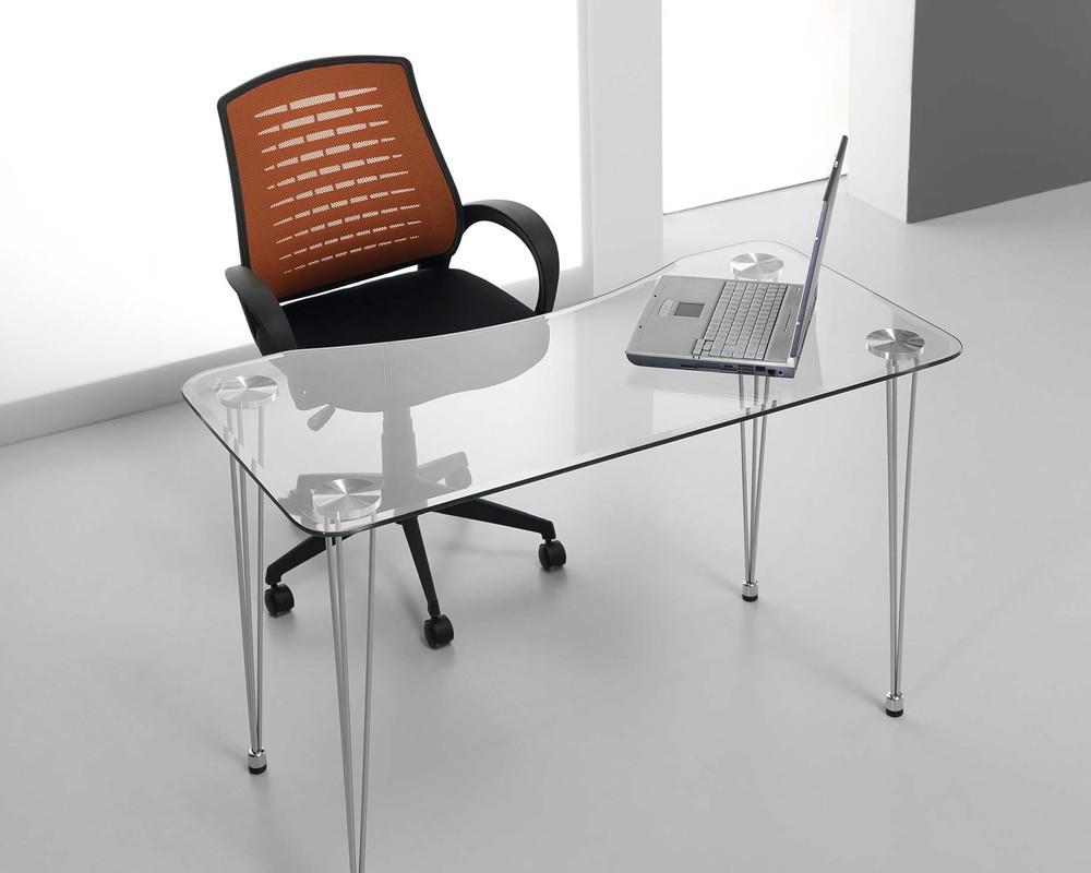 Escritorio cristal aries electromuebles hermanos molina for Mesa cristal ikea escritorio