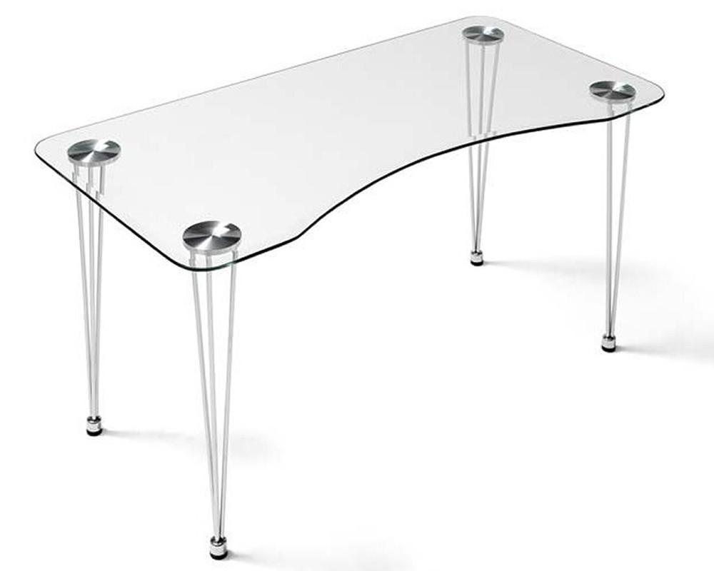 Escritorio cristal aries electromuebles hermanos molina for Mesa escritorio cristal