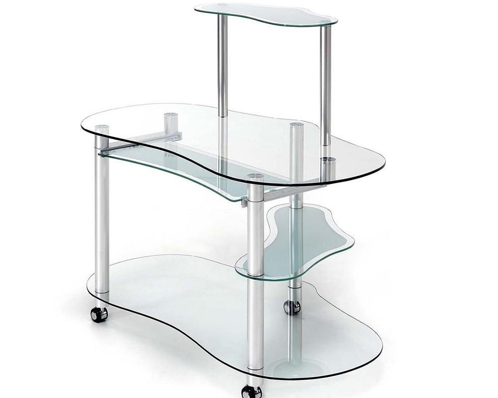 Mesa ordenador cristal net electromuebles hermanos molina - Mesa estudio cristal ...
