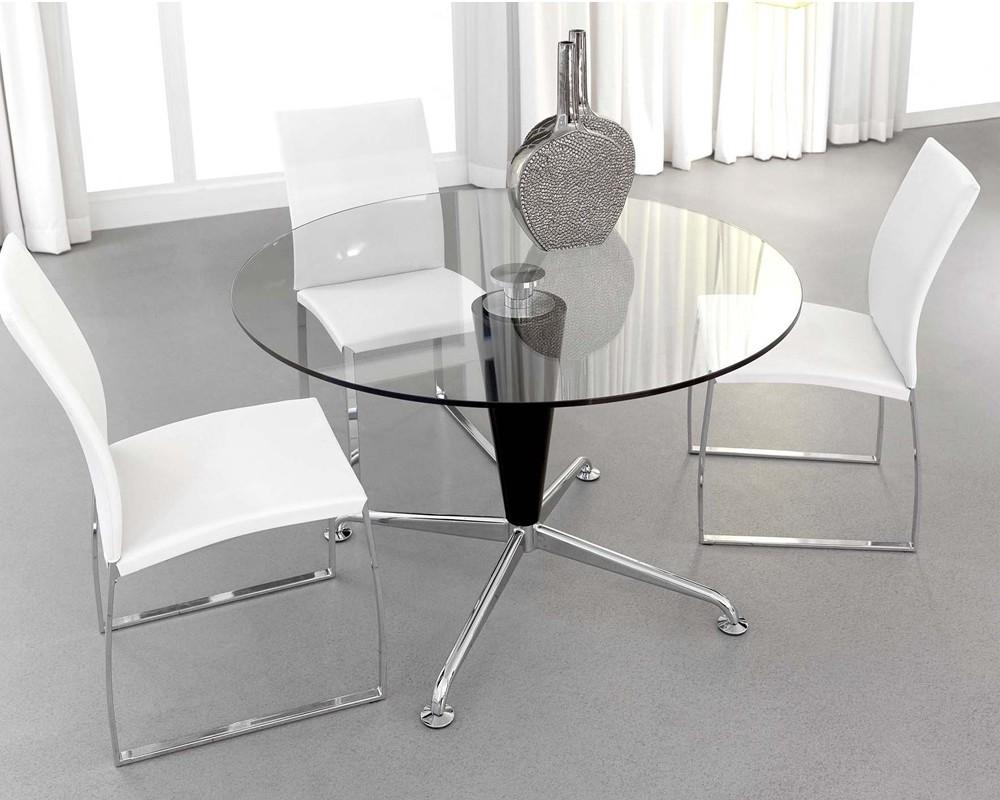 Mesa cristal azzaro redonda electromuebles hermanos molina for Cristal mesa