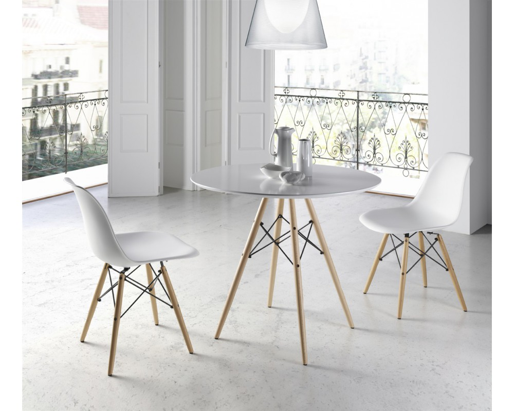 Mesa multiusos redonda electromuebles hermanos molina Sillas de comedor blancas modernas