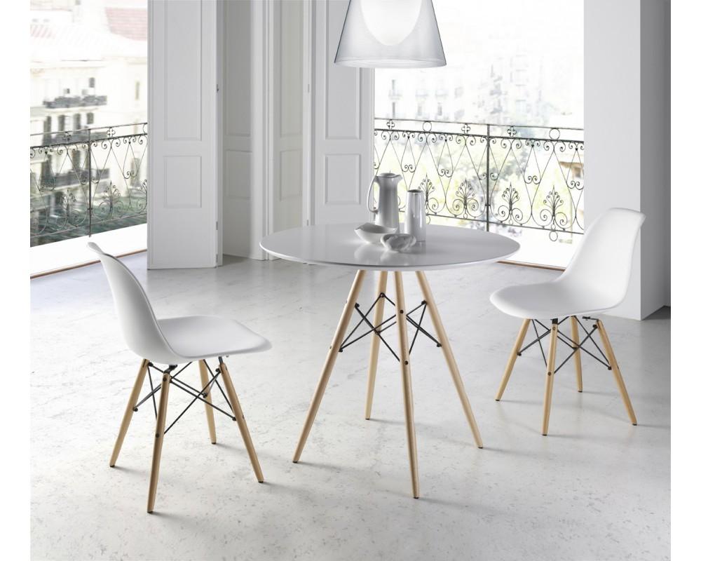 Mesa multiusos redonda electromuebles hermanos molina for Mesas y sillas de madera para cocina